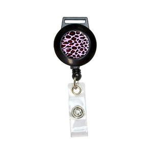 Leopard Animal Print Pink - Lanyard Retractable Reel Badge ID Card Holder