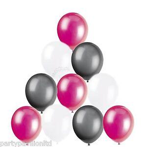 30 Bright Fushia Pink Black White Helium Balloons Birthday Party