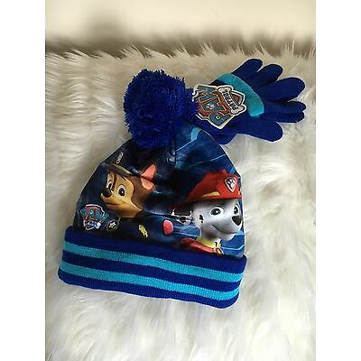 BOYS PAW PATROL WINTER BOBBLE HAT AND GLOVE SET