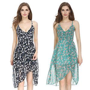 Summer-Women-Boho-Floral-V-Neck-Strap-Short-Mini-Swing-Dress-Evening-Party-Beach