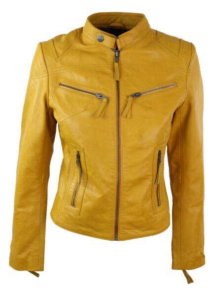 100% Señoras Chaqueta De Cuero Real Estilo Amueblada Bikers Vintage Amarillo Rock-ver Adecuado Para Hombres Y Mujeres De Todas Las Edades En Todas Las Estaciones