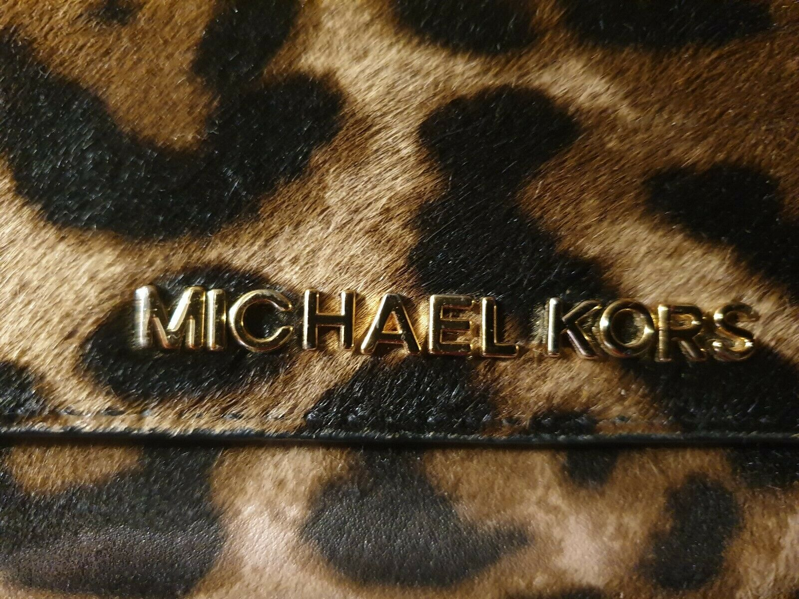 Michael Kors Leopard Print Haircalf Wristlet Iphone 5 5s Id Card Snap Case