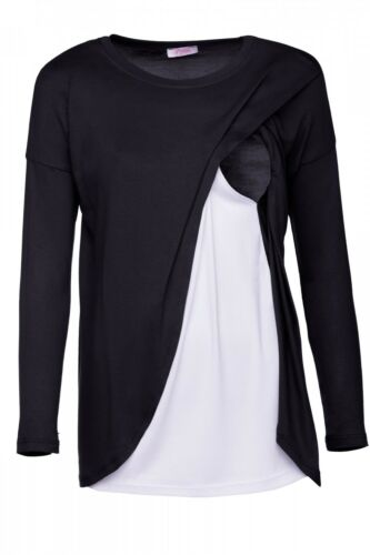 Double Layer 962p Women/'s Maternity Nursing Wrap Top 3//4 Sleeves Happy Mama