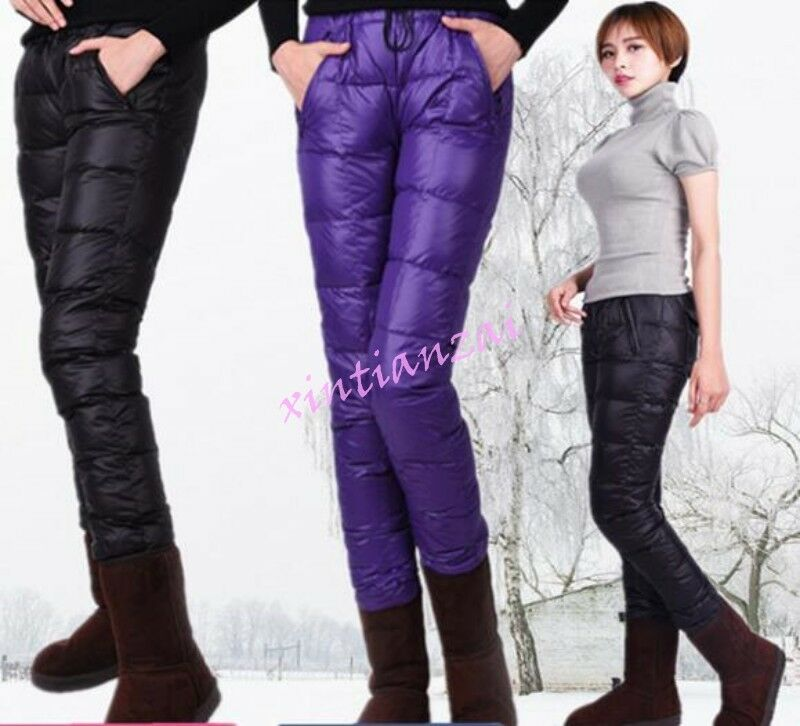 Womens Mens Unisex Outdoor Warm Ultralight Down Pants LOng Puffer Trousers HOT