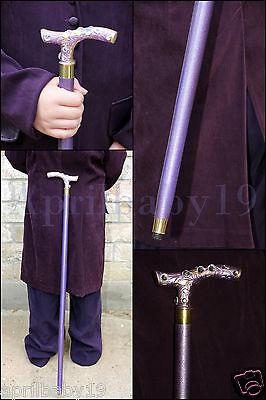 Purple JOKER CANE, Wooden walking stick, Costume Prop Cosplay Comic Con