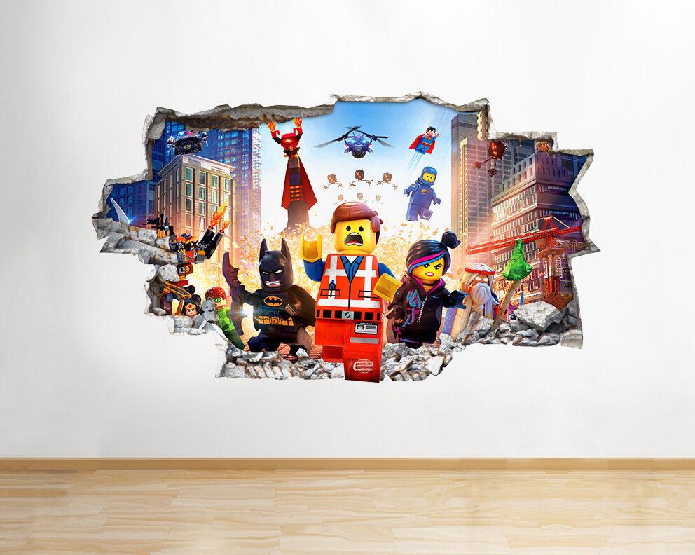 Q105w Lego Superheroes Chambre Smashed mur mur Smashed Autocollant Chambre 3D Vinyle enfants f40057