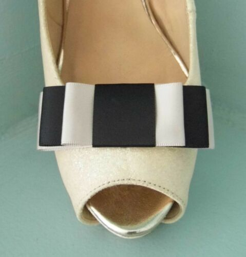 2 Handmade Black /& Taupe Triple Bow Clips for Shoes