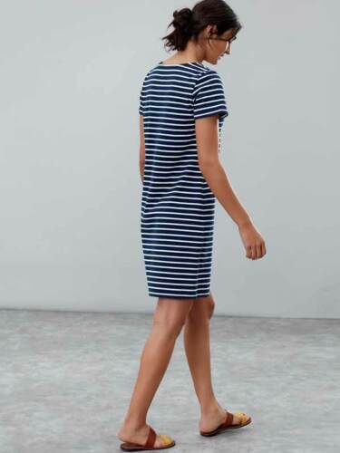 Sizes UK8-18 Navy Cream Stripe Joules Riviera Notch Neck Jersey Dress