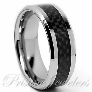 Titanium Black Carbon Fiber Silver Mens Wedding Band Comfort Fit ...