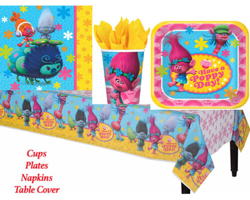 Disney Trolls Birthday Party Pack TableCover Plates Cups Napkins 8 Guests ~ 33pc