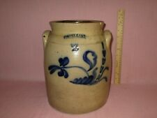 Antique 19th C Stoneware Flower Decorated C Hart & Son 2 gal New York Crock 11""