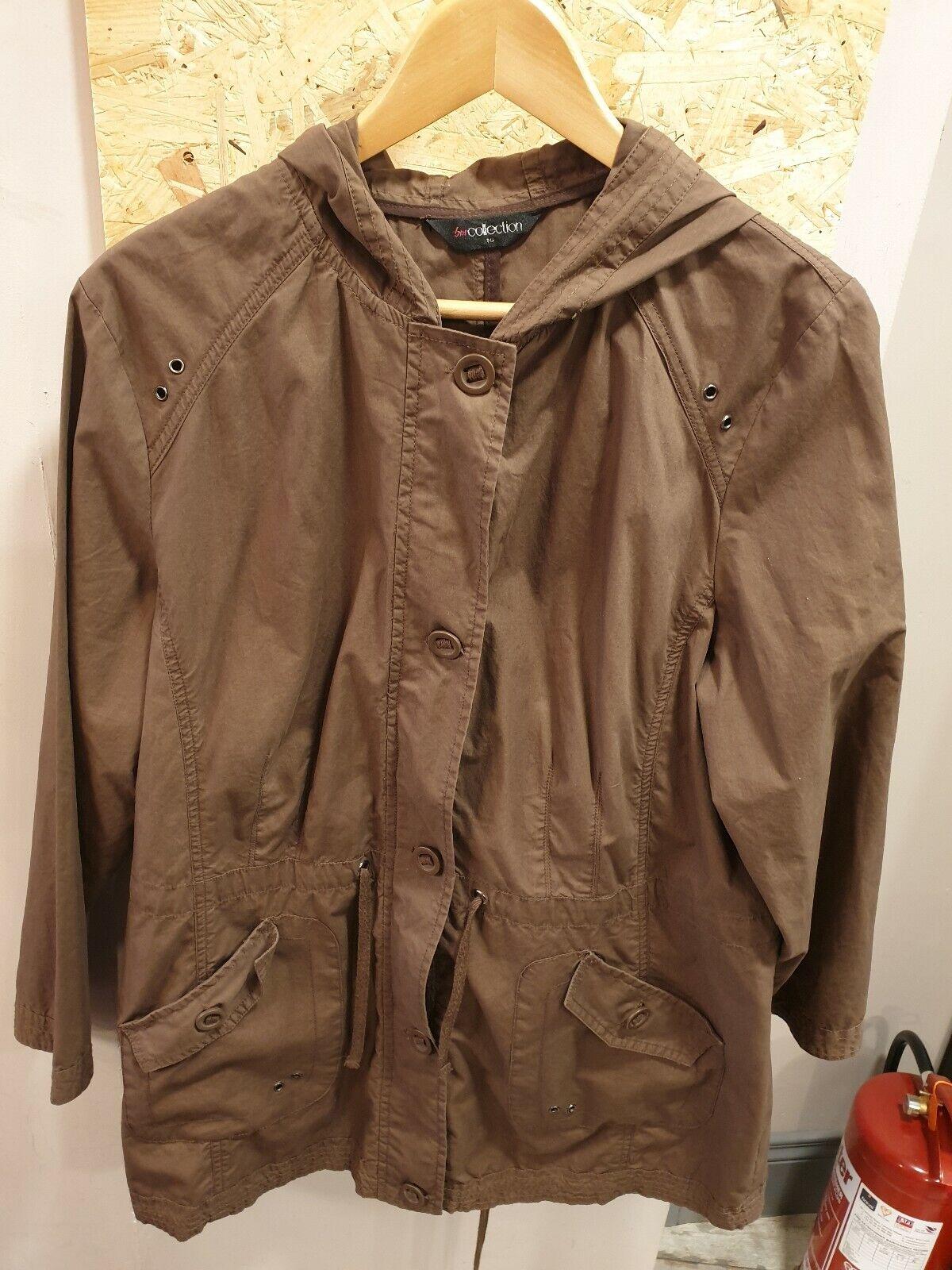BM Collection Dark Brown Lightweight Coat Size UK 16