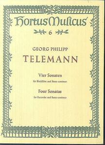 TELEMANN-Vier-Sonaten-Sonate-F-Dur-fuer-Blockfloete-und-Basso-continuo