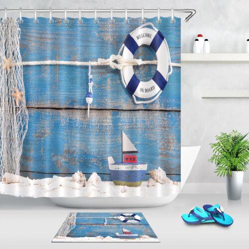 Summer Beach Blue Wood Boat Shower Curtain Waterproof Fabric Bathroom Set Hooks