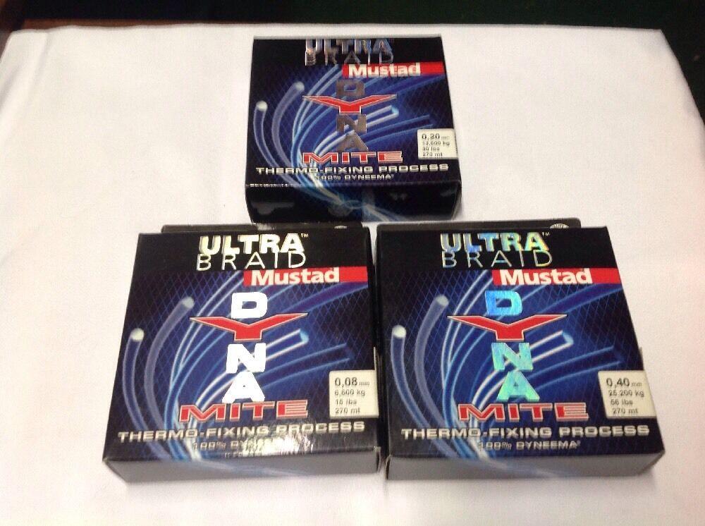 Mustad Dynamite Ultra Braid Assortment 8 20 40mm 15 30 56lb 270m Qty 3 Spools