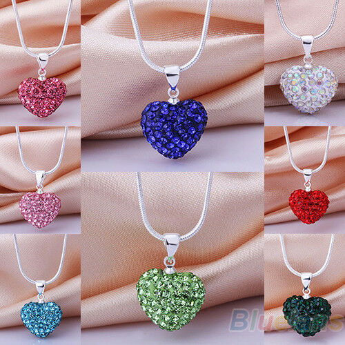 Women's Shiny Rhinestones Love Heart Pendant Choker Chain Necklace Jewelry
