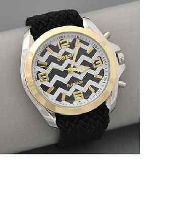 Black and White Chevron Face Watch
