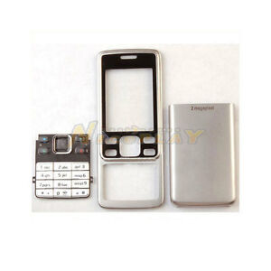 New-Full-Housing-Cover-Case-Front-Back-Keypad-Metal-For-Nokia-6300-Silver