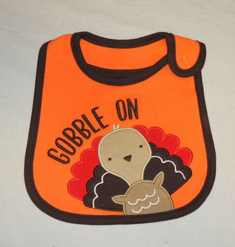 New Unisex Baby Carter/'s First Thanksgiving Bib Gobble on Turkey Holiday