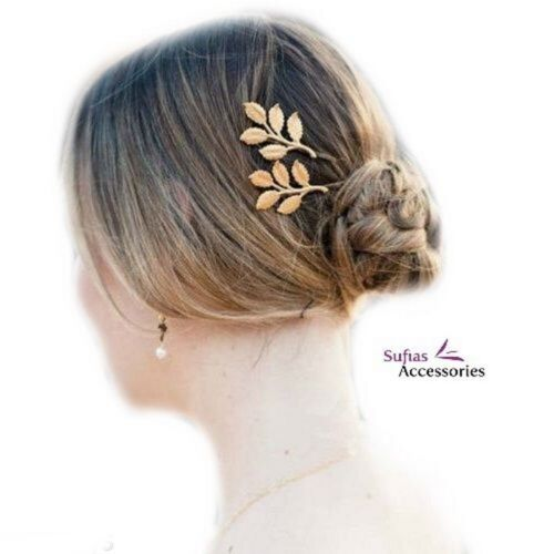 2 Gold Leaf Hair Grips Pins Slides Clips Laurel Olive Grecian Athena Boho xx