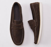 $665 Luciano Barbera Chocolate Brown Calf Suede Loafers Us 9 D Shoes