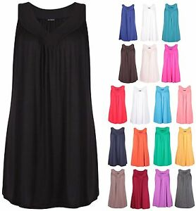 Womens-Plus-Size-V-Neck-Ladies-Sleeveless-Ruched-Gathered-Vest-Long-T-shirt-Top