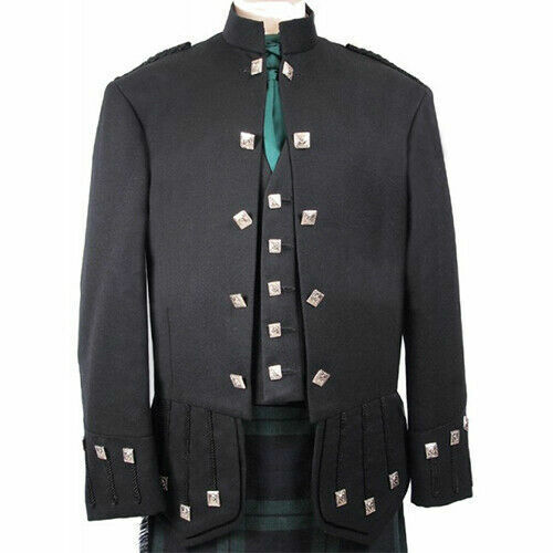 UK Custom Blazer Wool Doublet Military Piper Sheriffmuir kilt jacket & Waistcoat