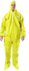 OmniPro Protective Hazmat Suit Coveralls W/Hood Boots-85G Serged/Bound Seams 5X