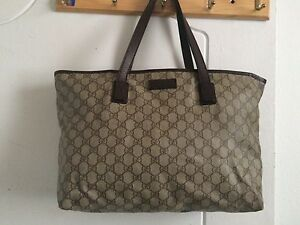 08088286b Gucci Brown GG Supreme Canvas Leather Medium Tote 100% authentic | eBay
