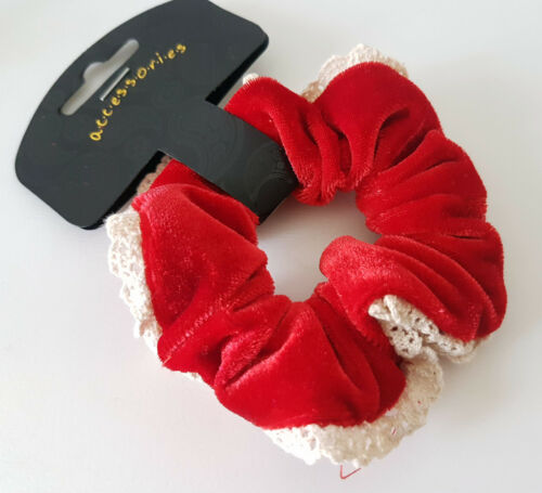 Red or Royal blue options Gorgeous sof velour /& lace fabric hair scrunchie