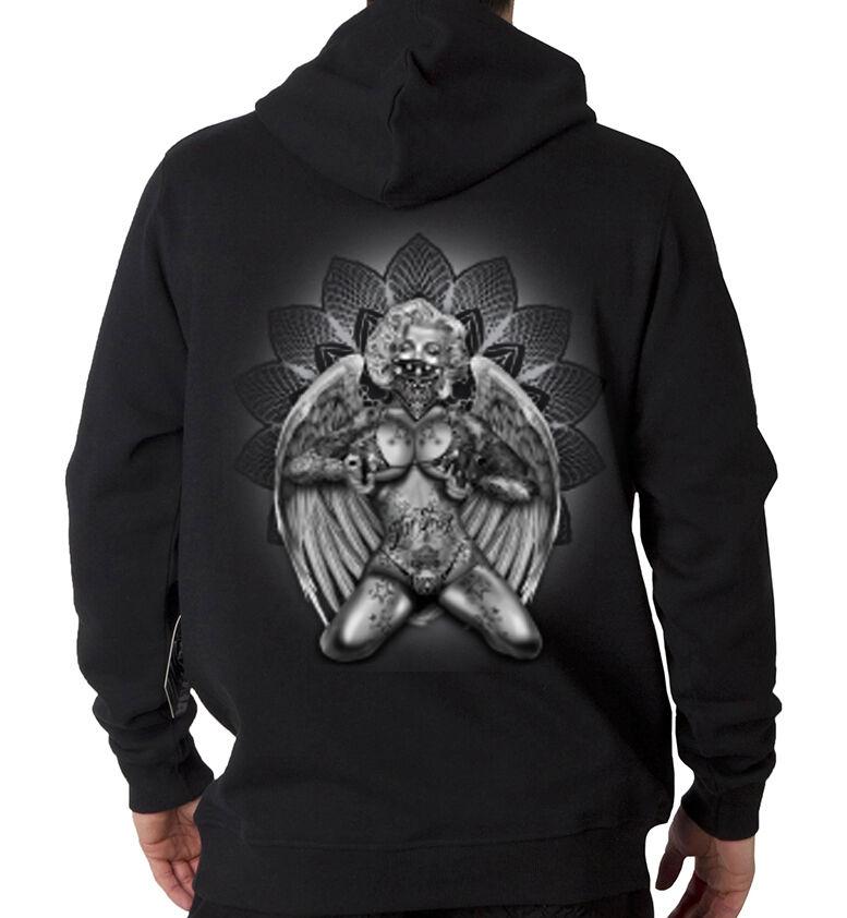 Marilyn Monroe Gangster Sexy Tattoo Mask Angel Wings Hooded Sweatshirt Hoodie