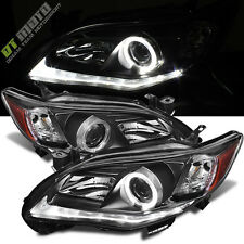 Black 2011-2013 Toyota Corolla LED Tube DRL Halo Projector Headlights Left+Right