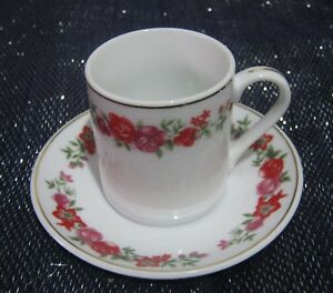 Lovely floral patterned china coffee cup and saucer unmarked - Newent, United Kingdom - Lovely floral patterned china coffee cup and saucer unmarked - Newent, United Kingdom