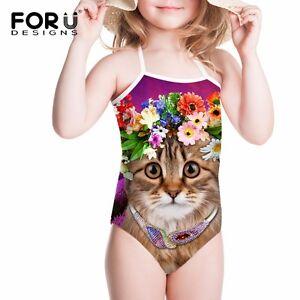Kids Baby Swimwear Floral 3d Cat Swimming Costume Girls Bikini Age 2