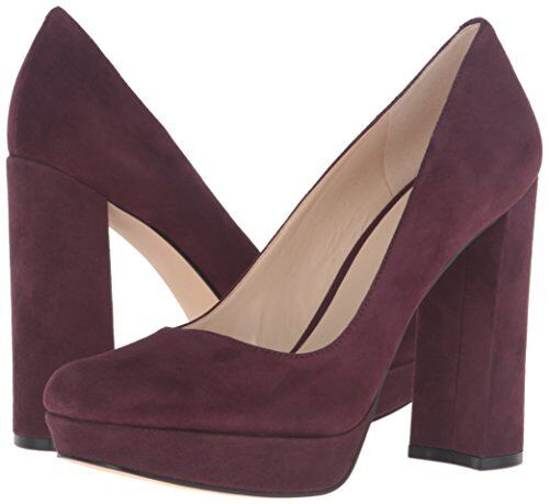 Nine West Delay 7 Wine ROT Braun Suede Platform Round Toe Block Heel Dress Pumps