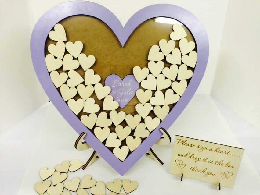 Personalised lilac wedding heart shaped guest book drop box wooden 144 heart