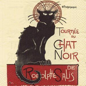 SERVIETTES EN PAPIER CHAT TOURNEE DU CHAT DE R.SALIS. PAPER NAPKINS CAT BLACK