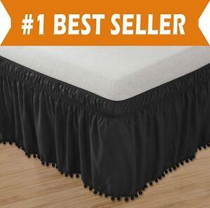 Top-Knot-Tassle-Pompom-Fringe-Ruffle-Skirt-Around-Style-Elastic-Bed-Wrap