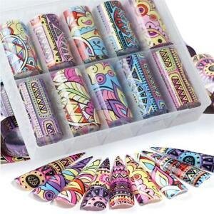 Transfer-Paper-Holographic-Foils-Nail-Art-Stickers-Retro-Flower-Design