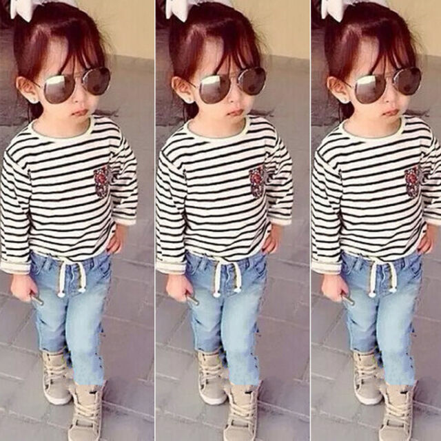 Spring Fall Girls Child Long-sleeved Striped T-shirt Denim Trouser Outfit Suit