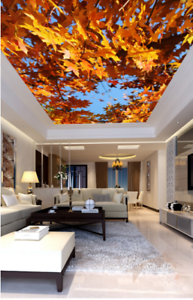 3D Fall Maple Leaf 53 Ceiling Wall Paper Print Wall Indoor Wall Murals CA Carly