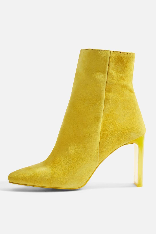 Topshop Topshop Topshop Amarillo botas 100% Cuero Zapatos de tacón de gamuza PERSPEX Hibiscus 5 agotado  muchas sorpresas
