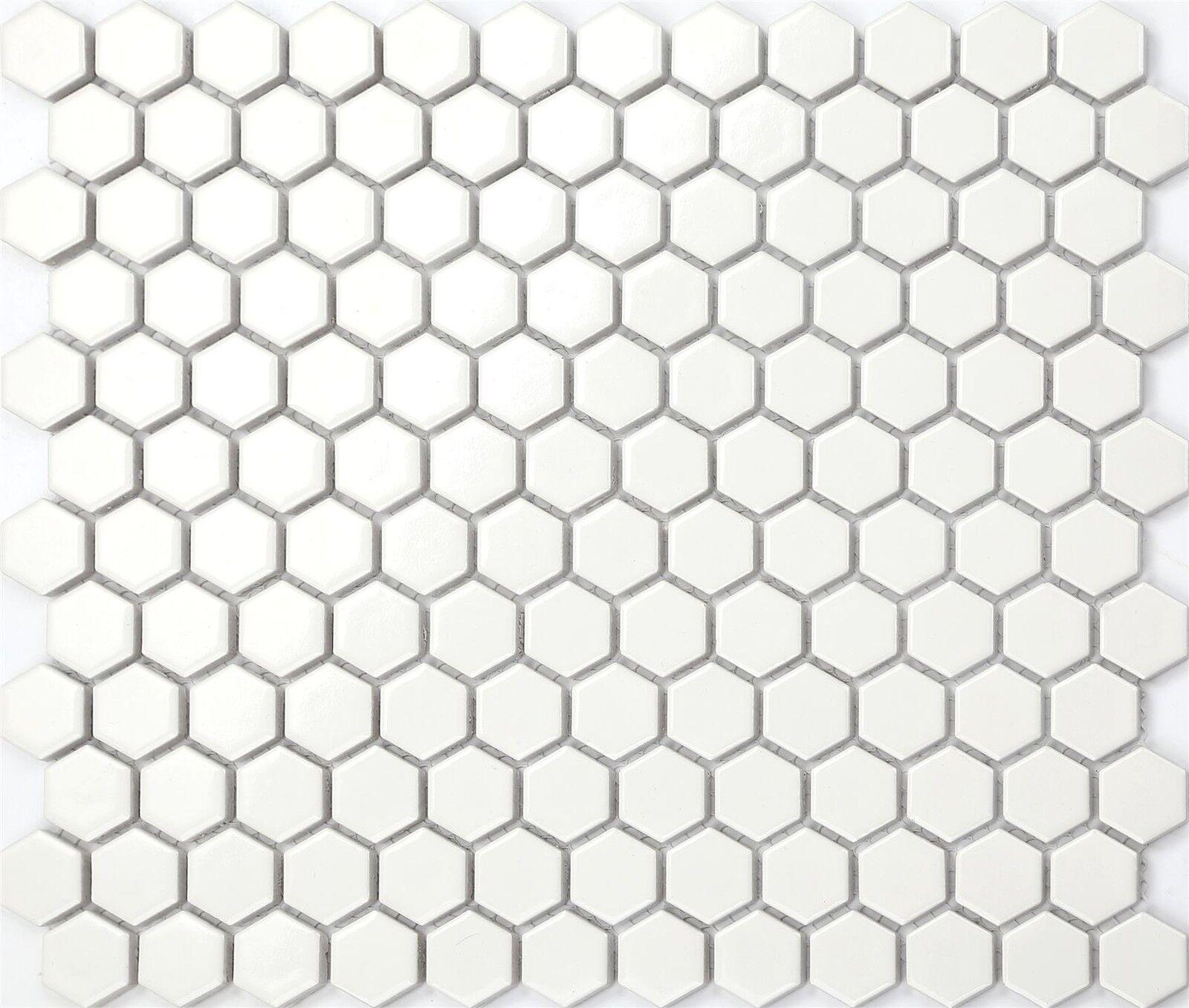 1 SQM Weiß Hexagonal Gloss Ceramic Mosaic Tiles 270x310x5mm (MT0089)