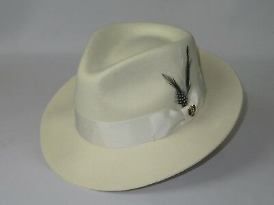 Men Bruno Capelo Dress Hat Australian Wool Fedora Tear Drop Crown Fabio Bone New