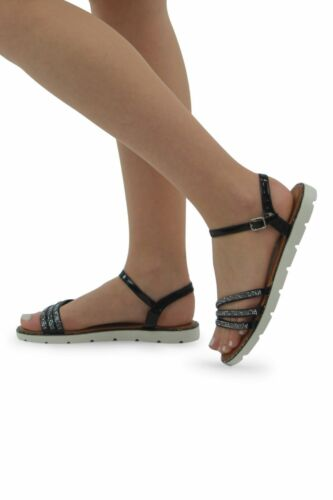 New Ladies Women/'s Flat Cleated sole strap sandals Ankle Strap Diamante Shoes