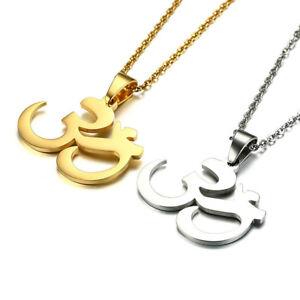 Image Is Loading Om Aum Ohm Symbol Anium Steel Pendant Necklace