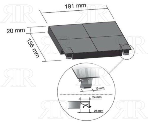 Faber Modello Inca Smart Filtri Cappa a Carbone Attivo rettangolari 2 filtri