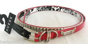 GUESS-RED-PATENT-LEATHER-SILVER-STUD-BELT-SIZE-MED-LARGE