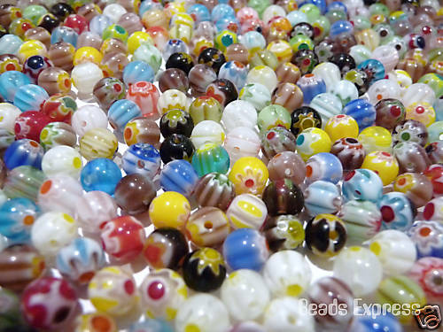 50pc 6mm Quality Assorted Millefiori Round Glass Beads DF6001