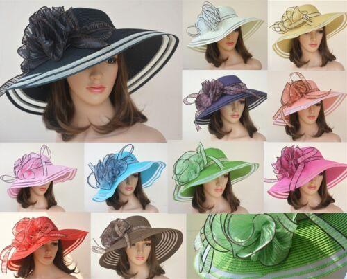 A115 Women Dress Church Wedding Kentucky Derby Wide Brim Straw Summer Beach Hat